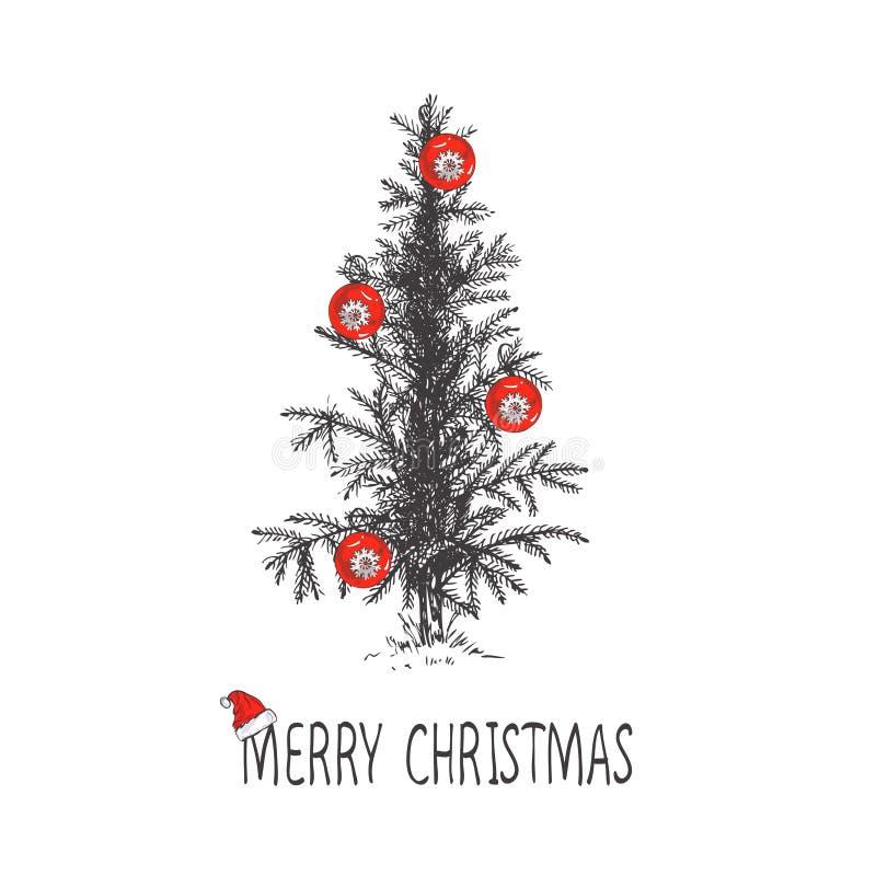 El diseño de tarjeta con un árbol de navidad dibujado mano con los copos de nieve y la Feliz Navidad mandan un SMS Sombrero del ` libre illustration