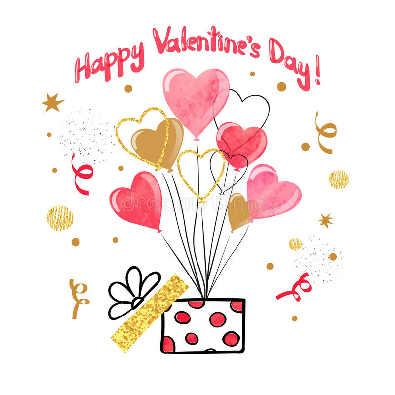 El diseño de tarjeta del día de tarjetas del día de San Valentín con el corazón de la acuarela hincha ilustración del vector