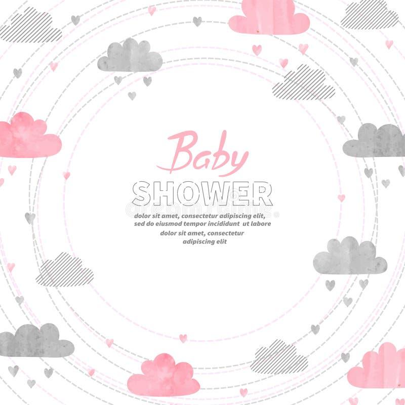 El diseño de tarjeta de la invitación de la muchacha de la fiesta de bienvenida al bebé con la acuarela se nubla ilustración del vector