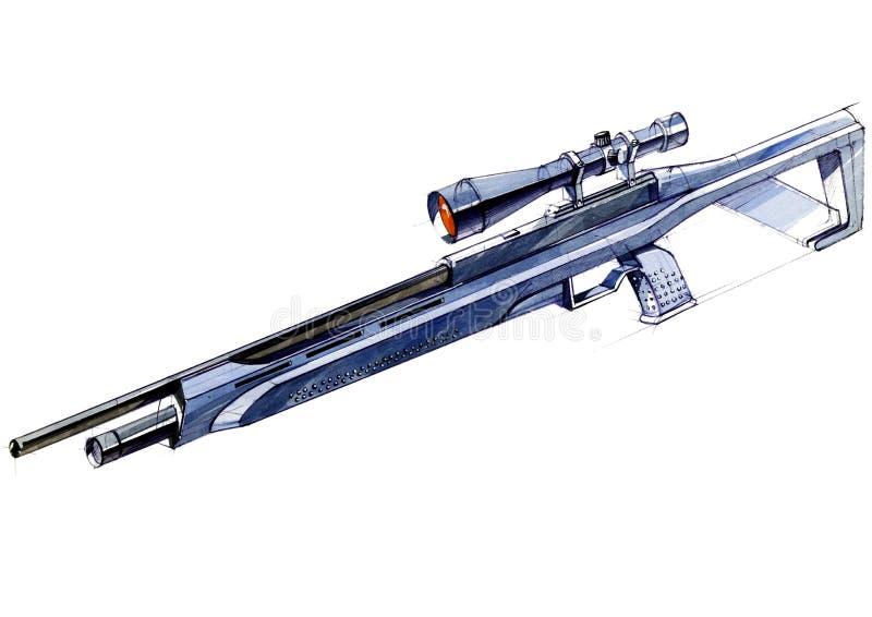 El diseño del bosquejo es un proyecto de un rifle ligero versátil moderno fotografía de archivo libre de regalías