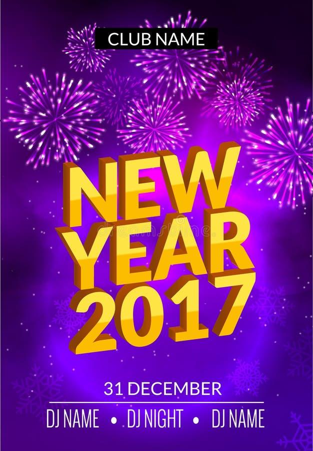 El diseño del cartel del partido del Año Nuevo con los fuegos artificiales se enciende Plantilla del aviador del disco del Año Nu libre illustration