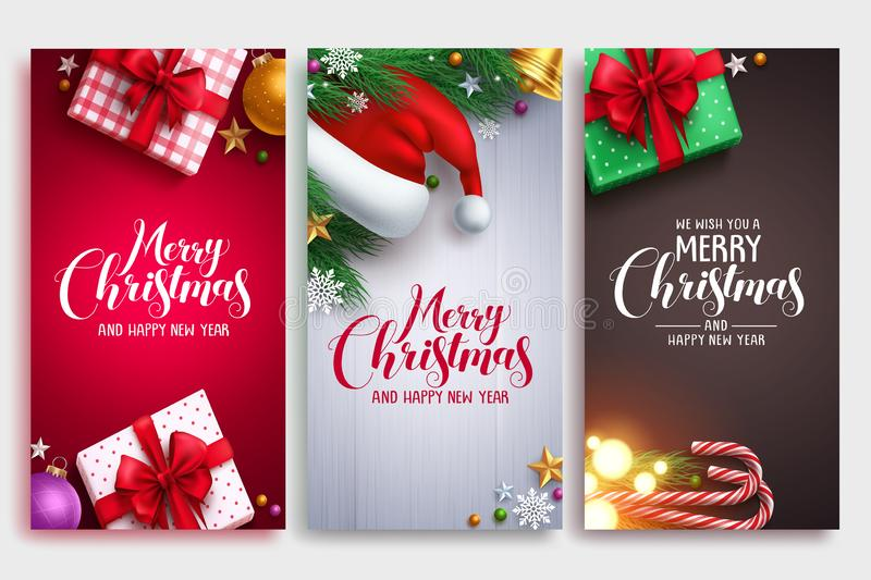 El diseño del cartel del vector de la Navidad fijó con los elementos coloridos stock de ilustración