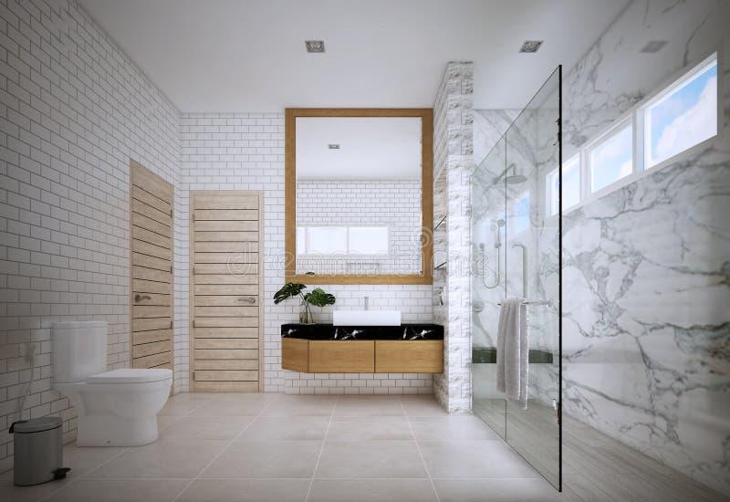 El diseño del cuarto de baño, interior del estilo moderno ilustración del vector
