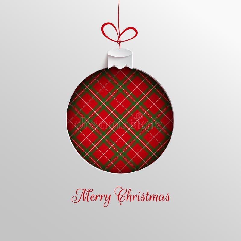 El diseño del día de fiesta de la Feliz Navidad, papel cortó la decoración del juguete del árbol de Navidad con el fondo a cuadro ilustración del vector