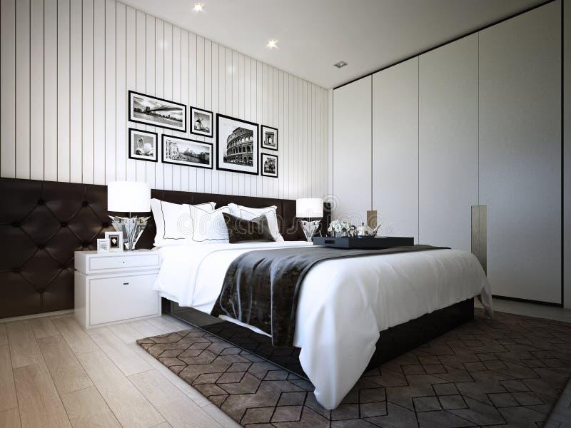 El diseño del dormitorio, interior del estilo moderno acogedor, 3d representación, ejemplo 3d libre illustration