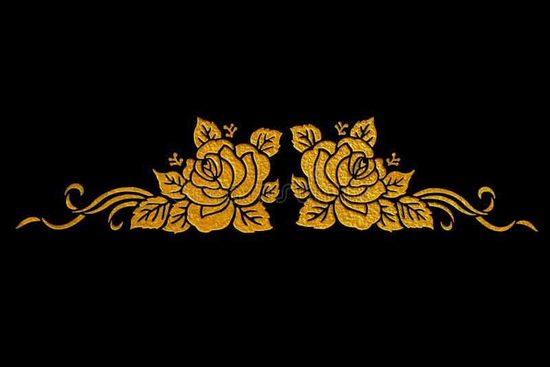 El diseño del estuco del oro de estilo tailandés nativo imágenes de archivo libres de regalías