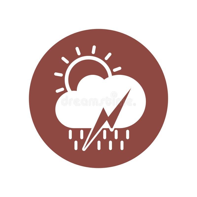 El diseño del icono de climas incluye el sol, nube, lluvia, rayo Ejemplo del vector en estilo plano libre illustration