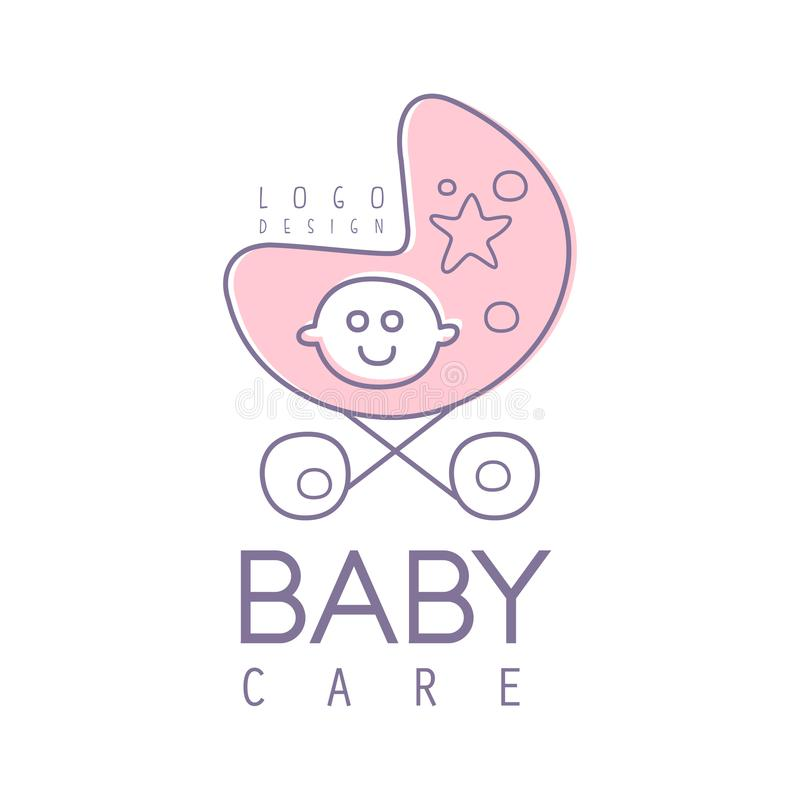 El diseño del logotipo del cuidado del bebé, emblema con el cochecito de bebé rosado, etiqueta para los niños aporrea, el bebé o  stock de ilustración