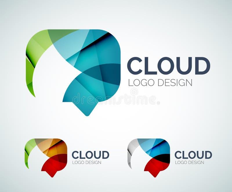 El diseño del logotipo de la nube de la charla hecho de color junta las piezas libre illustration