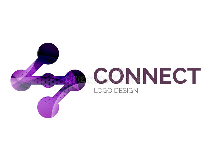 El diseño del logotipo del icono de la conexión hecho de color junta las piezas libre illustration