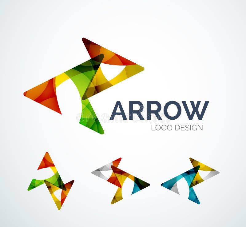 El diseño del logotipo del icono de la flecha hecho de color junta las piezas ilustración del vector