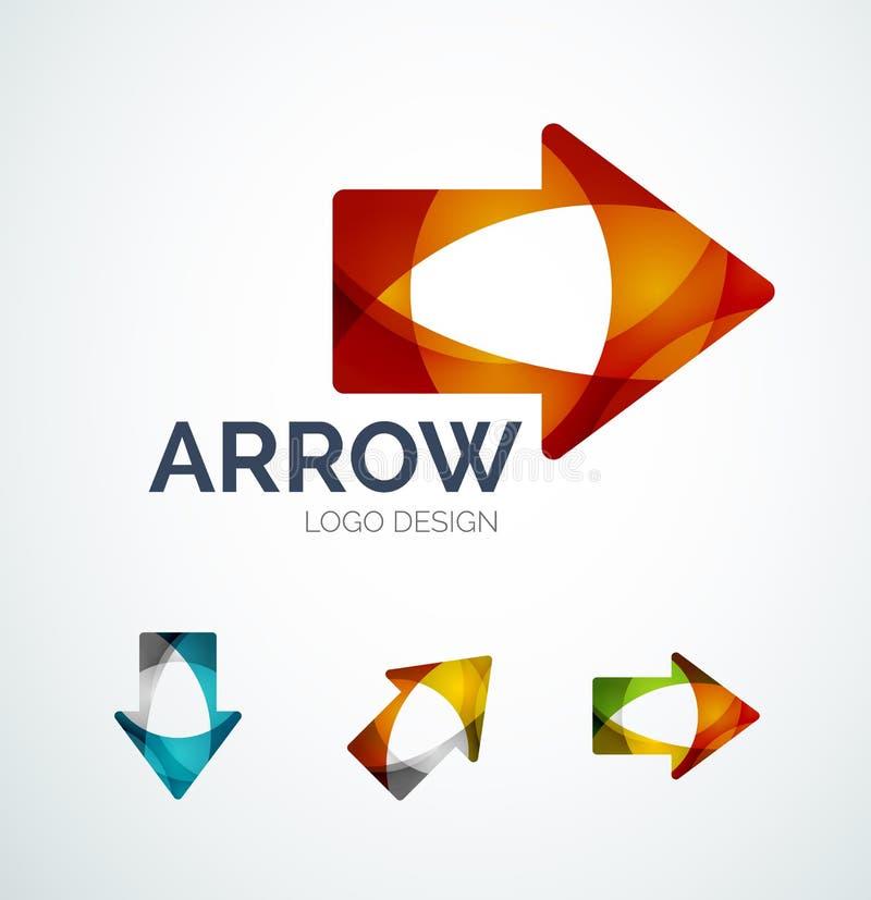 El diseño del logotipo del icono de la flecha hecho de color junta las piezas libre illustration