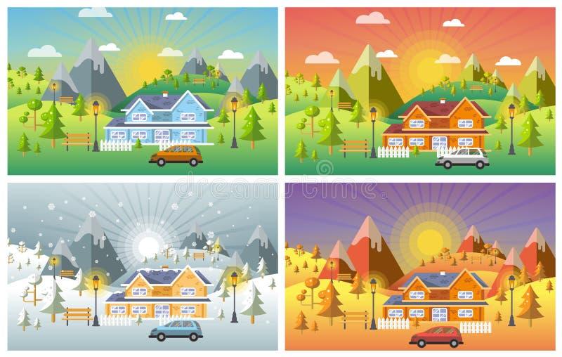 El diseño del paisaje fijó con el invierno, primavera, verano, otoño stock de ilustración