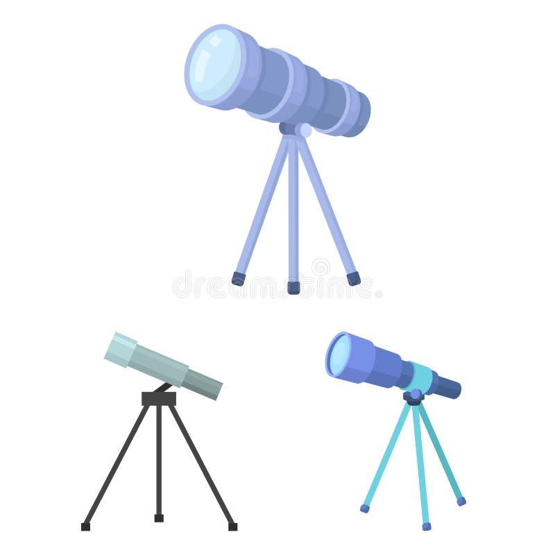 El diseño del vector de telescopio y los prismáticos firman Fije del telescopio y del icono del vector de la historia para la acc ilustración del vector