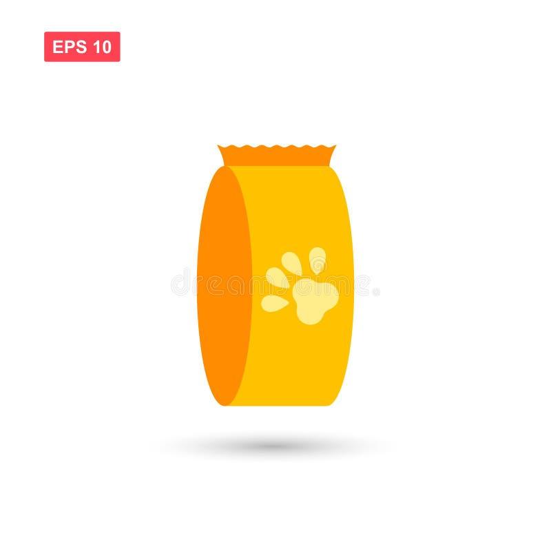 El diseño del vector del icono del bolso del alimento para animales aisló 3 stock de ilustración