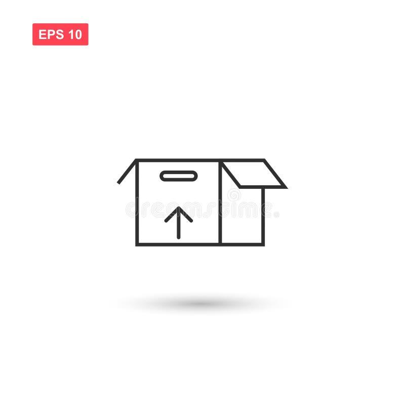 El diseño del vector del icono de la caja de cartón del paquete aisló 3 ilustración del vector
