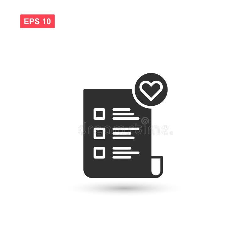 El diseño del vector del icono de Wishlist aisló 3 stock de ilustración