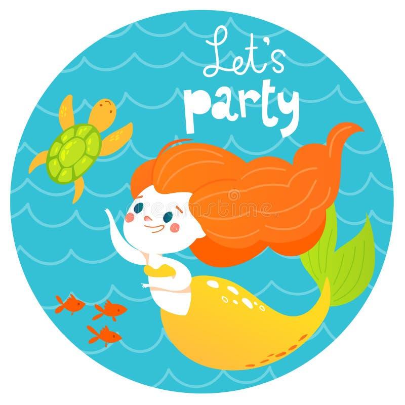 El diseño del verano del vector del estilo de la historieta con la muchacha linda de la sirena y los pescados de mar y nos dejaro libre illustration