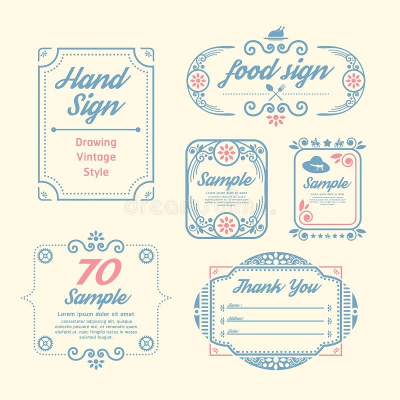 El diseño del vintage de la etiqueta etiqueta la plantilla infographic ilustración del vector