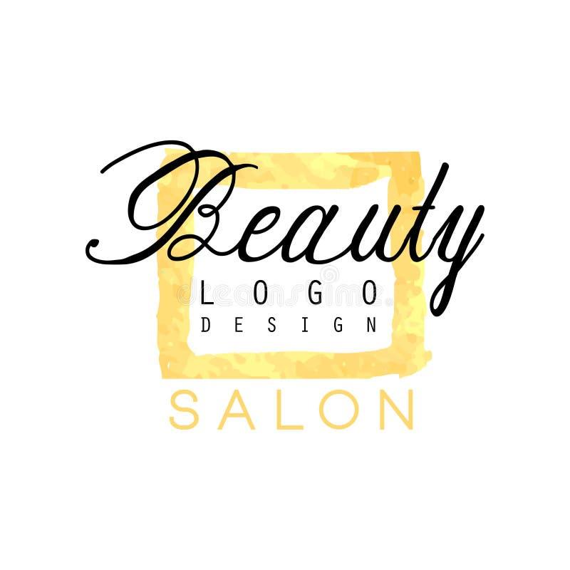 El diseño delicado del logotipo del negocio para el salón de belleza o los cosméticos hace compras Etiqueta con colores apacibles stock de ilustración