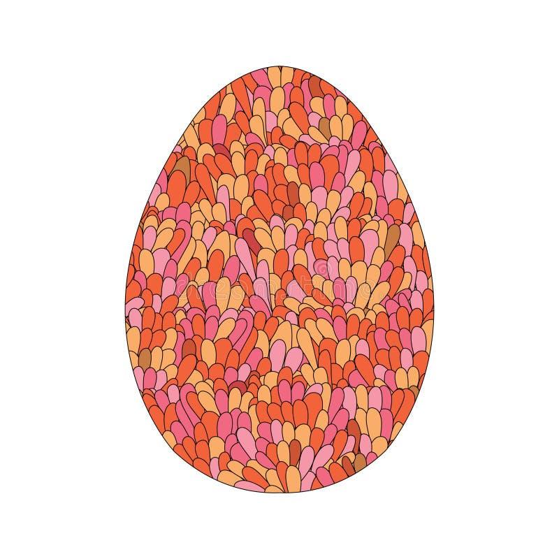 El diseño dibujado mano del huevo de Pascua con el modelo del garabato del colorul le gusta el MES ilustración del vector