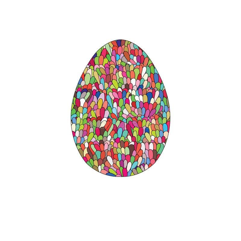 El diseño dibujado mano del huevo de Pascua con el modelo del garabato del colorul le gusta el MES libre illustration