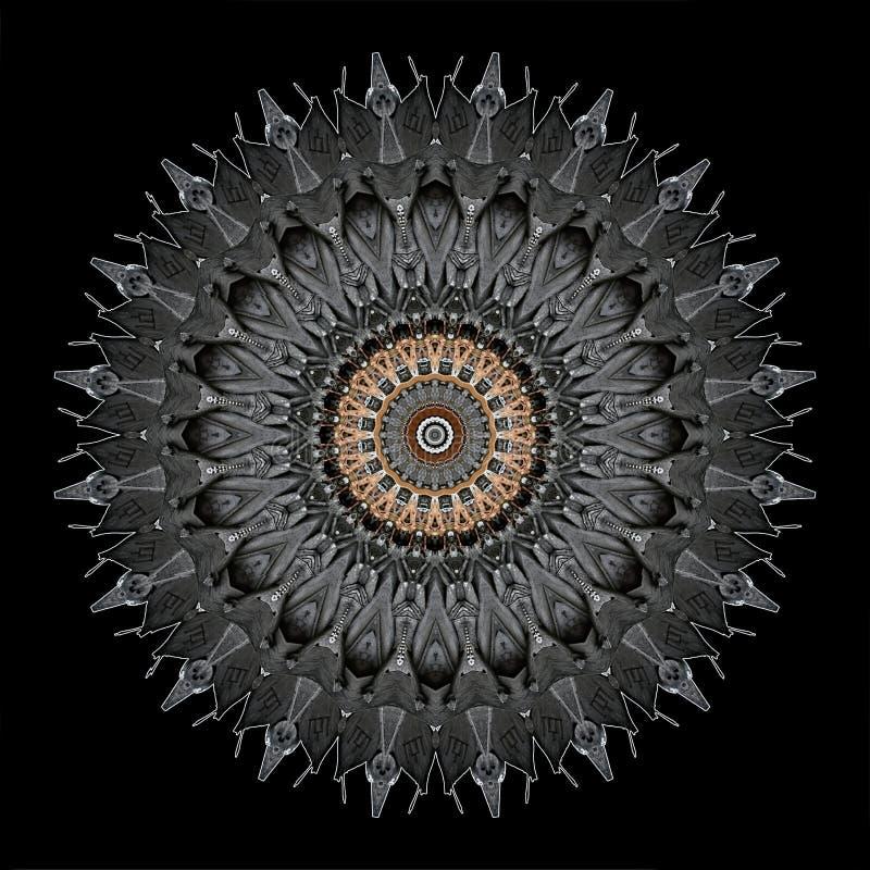 El diseño digital del arte de ornamental afiligranado talló misterioso la madera ilustración del vector