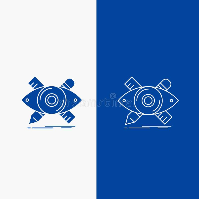 el diseño, diseñador, ejemplo, bosquejo, herramientas botón de la web alinea y del Glyph en la bandera vertical del color azul pa ilustración del vector