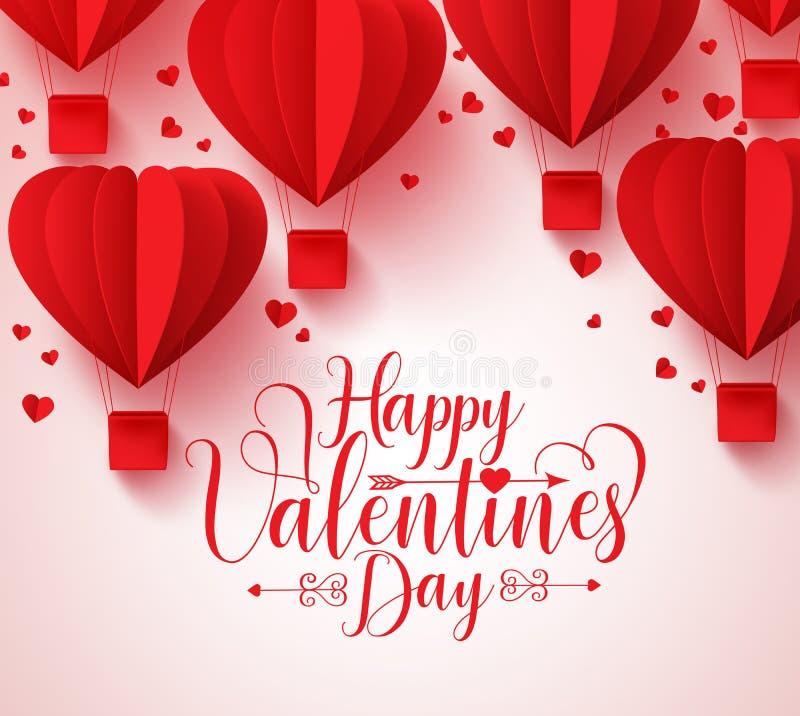 El diseño feliz de la tarjeta de felicitaciones del vector del día de tarjetas del día de San Valentín con el papel cortó el cora stock de ilustración
