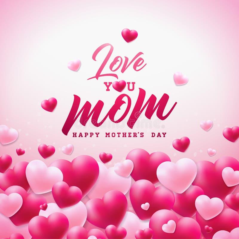 El diseño feliz de la tarjeta de felicitación del día de madres con el corazón y le ama los elementos tipográficos de la mamá en  stock de ilustración