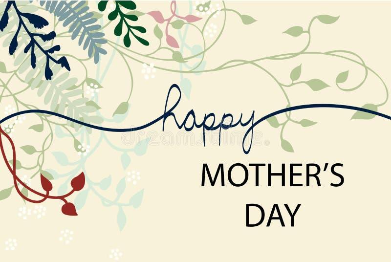 El diseño feliz del vector del día del ` s de la madre con la hiedra de las vides florece y los elementos del diseño floral en la stock de ilustración