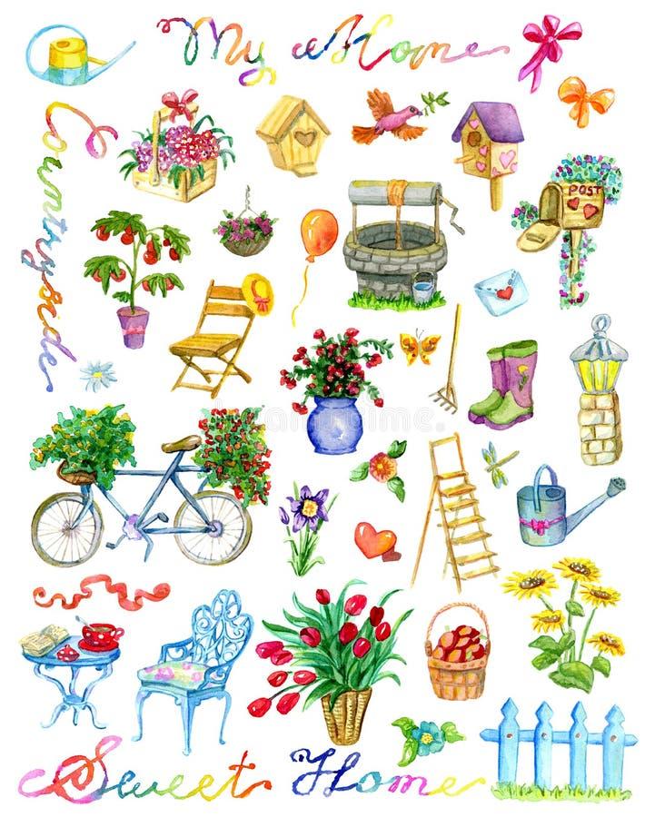 El diseño fijó con los objetos, las flores, la pajarera, la bicicleta y las letras del jardín aislados en blanco libre illustration