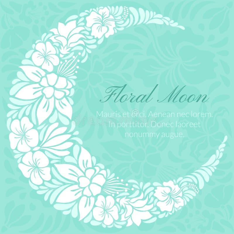 El diseño floral adornó la luna creciente ilustración del vector