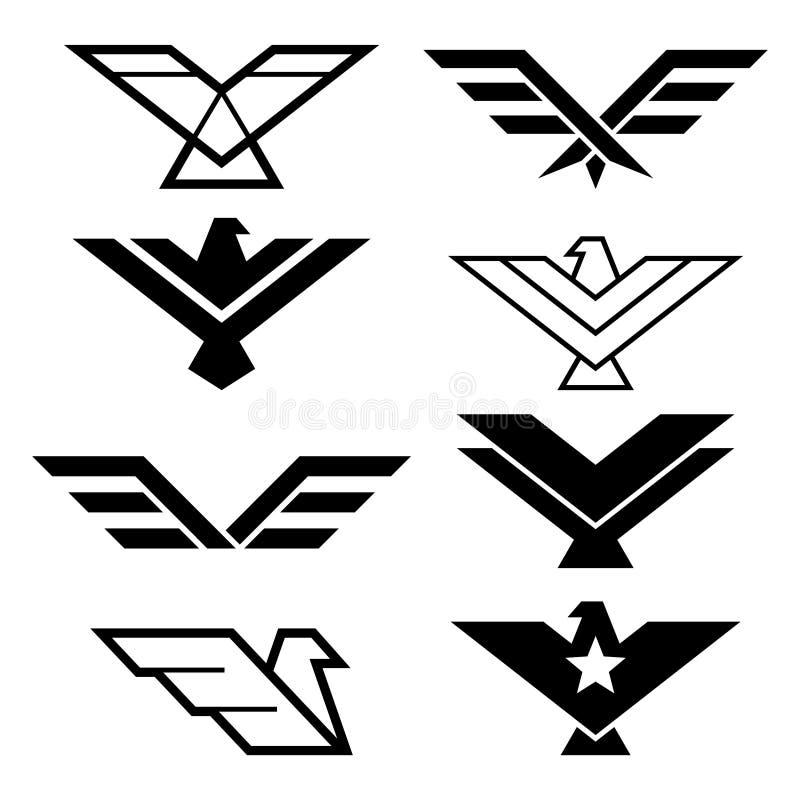 El diseño geométrico de Eagle, iconos de las alas del ` s del águila fijó, los elementos gráficos de las águilas - estilo moderno stock de ilustración