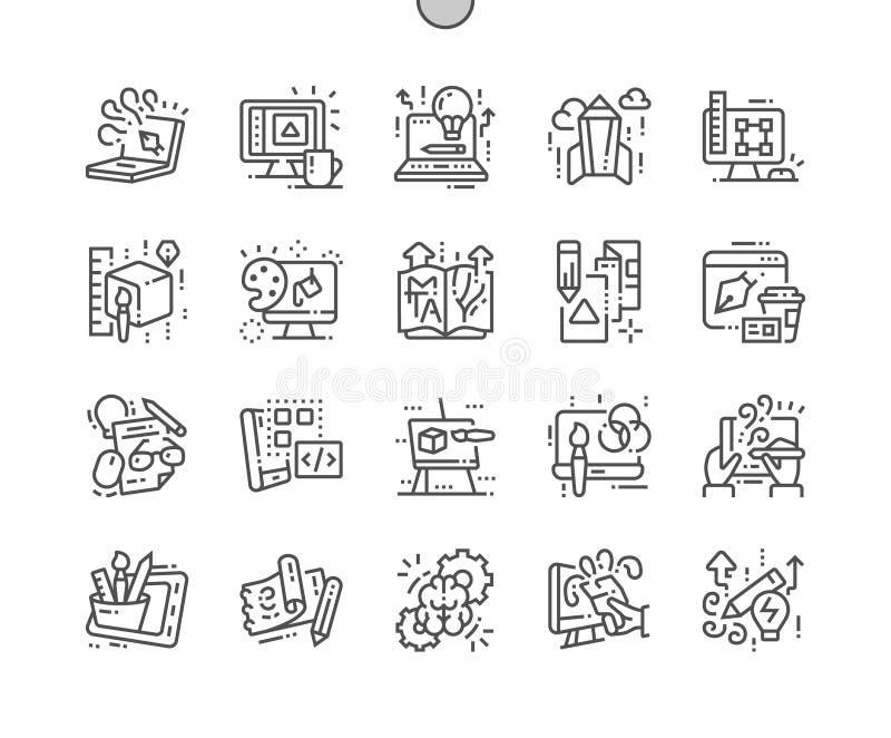 El diseño gráfico Bien-hizo la línea fina rejilla 2x de los iconos 30 del vector a mano perfecto del pixel para los gráficos y Ap libre illustration