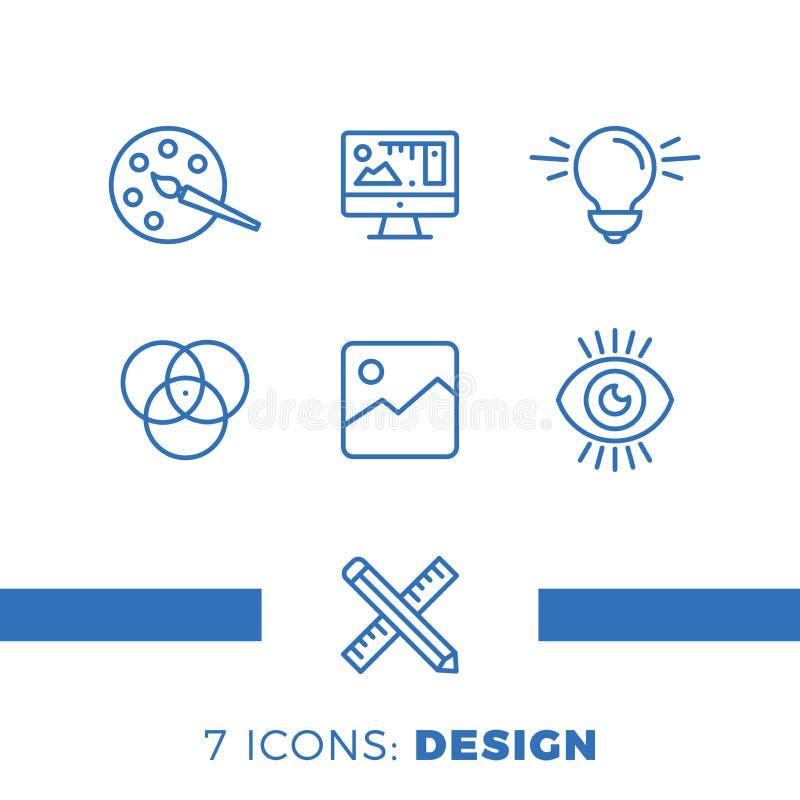 El diseño gráfico, el paquete, inmóvil creativos, software y más, línea fina iconos fijaron, ejemplo libre illustration