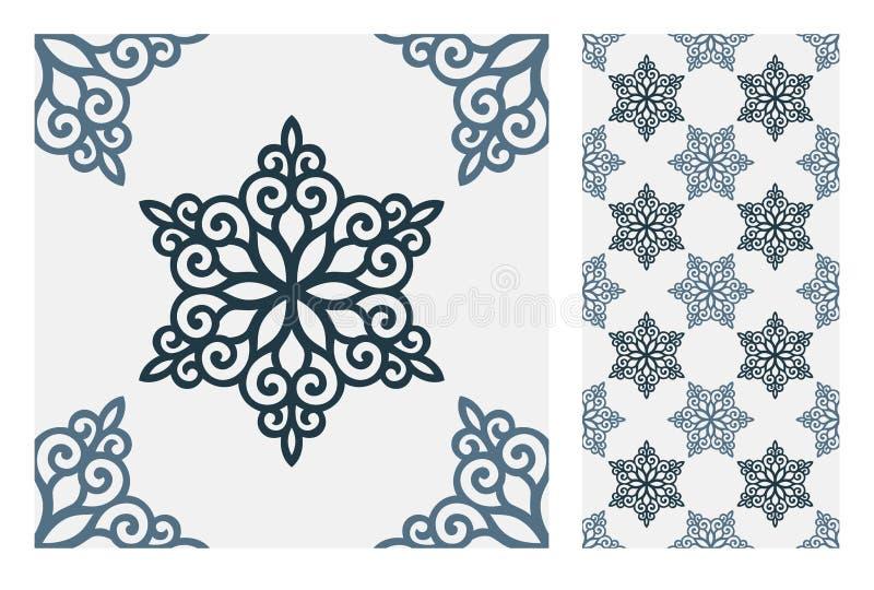 El diseño inconsútil antiguo del vintage modela las tejas en el ejemplo del vector ilustración del vector