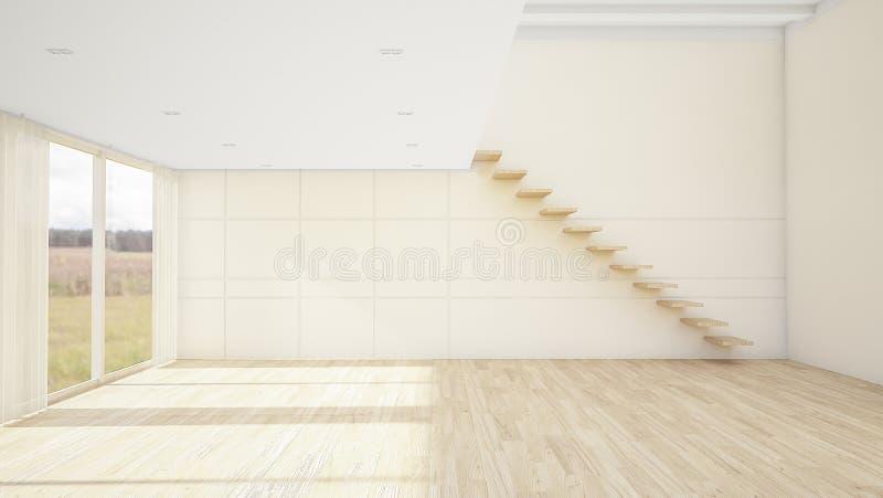 El diseño interior de estilo moderno vacío del sitio y de la sala de estar con la ventana o puerta y piso y escalera de madera 3d libre illustration