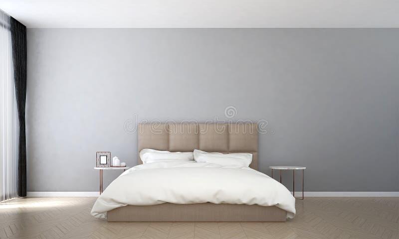 El diseño interior de modelo mínimo del dormitorio y del muro de cemento y de opinión del mar ilustración del vector