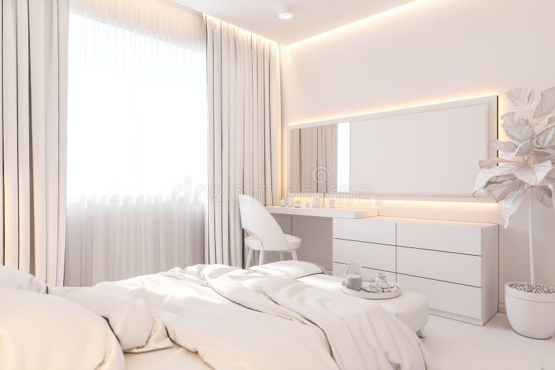 El diseño interior del dormitorio principal en el estilo escandinavo ejemplo 3d del interior sin textura ilustración del vector