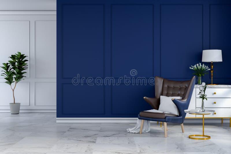 El diseño interior del sitio moderno de lujo, el sillón azul con la lámpara blanca y el aparador blanco en la pared azul /3d rind stock de ilustración