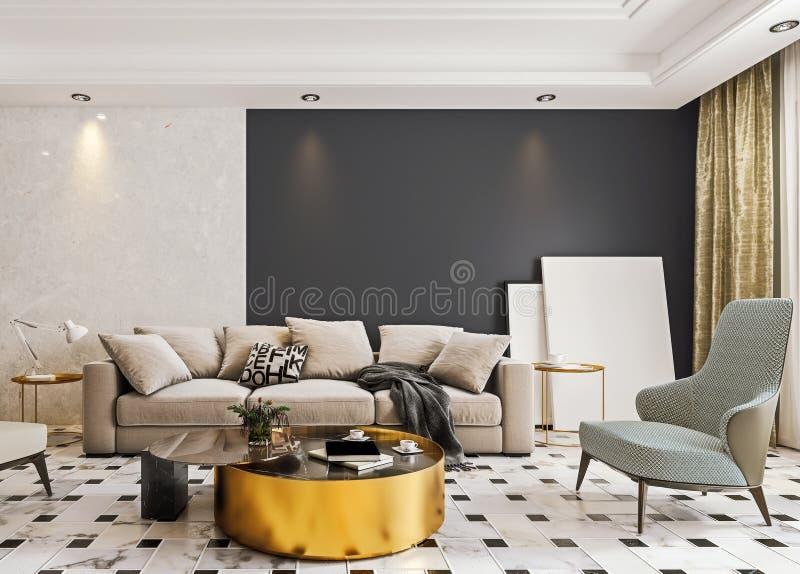 El Diseño Interior Moderno De Sala De Estar Con El Suelo De
