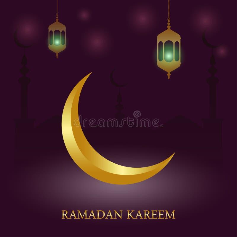 El diseño islámico de la tarjeta de felicitación de Ramadan Kareem con la mezquita, la linterna árabe Fanus y el creciente del or ilustración del vector