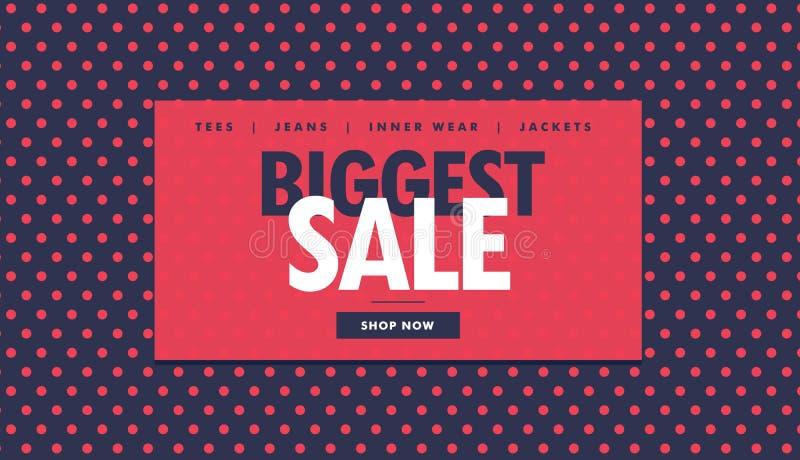 El diseño más grande del vale de la venta con los puntos rojos libre illustration