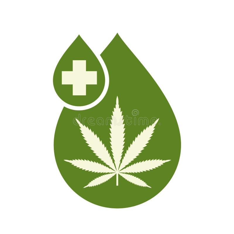 El diseño médico del icono del aceite del cáñamo con la hoja de la marijuana y el aceite de cáñamo caen Extracto del cáñamo del a stock de ilustración