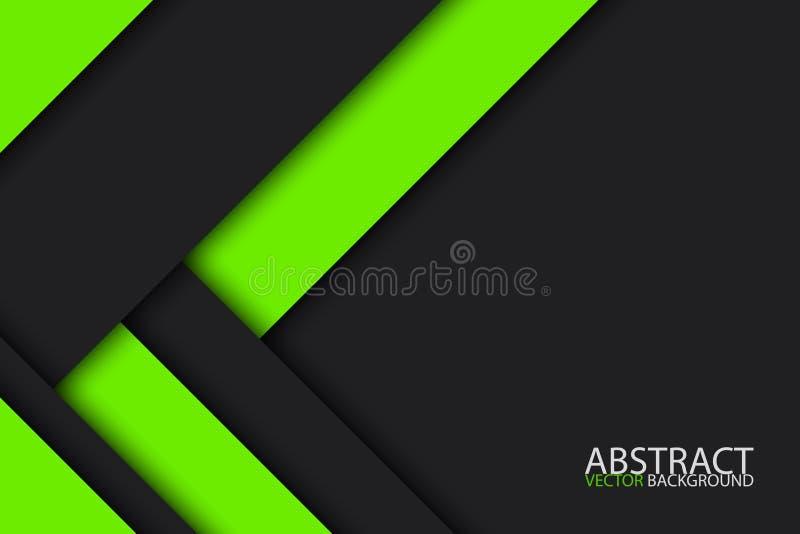 El diseño material moderno negro y verde, vector el extracto widescren stock de ilustración