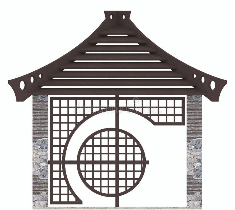 El diseño oriental del gazebo, 3d rinde libre illustration