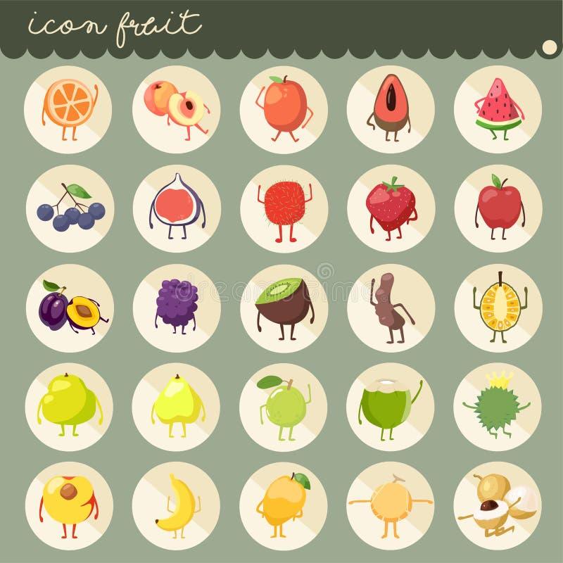 el diseño plano básico de 25 sistemas, colores de las colecciones del vector de las frutas, sistema de frutas es manzana, plátano stock de ilustración