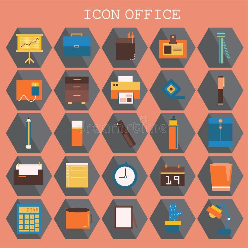 el diseño plano básico de 25 sistemas, contiene los iconos tales como lugar de trabajo, negocio y los artículos del mobiliario de libre illustration