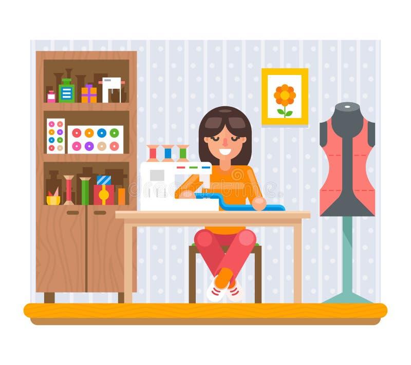 El diseño plano de costura del arte del trabajo de la afición en casa Vector el ejemplo libre illustration